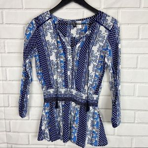 Divided H&M mixed print blue tassel blouse 6 small